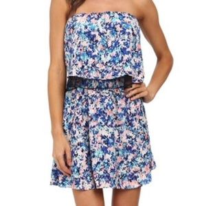 Olive and Oak Floral Print Strapless Dress NWT